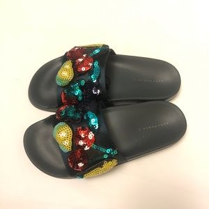 Zara fruit green slides Sequin sz 6.5 NWT